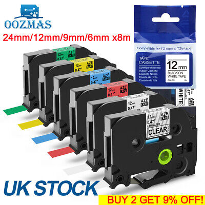Compatible Brother TZ Tze Label Tape Printer P-Touch Laminated 18mm/12mm/9mm 8m • 19.36£