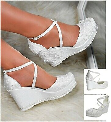 Womens Satin Floral Lace Bridal Shoes High Wedge Heel Ankle Strap Party Sandals  • 35£