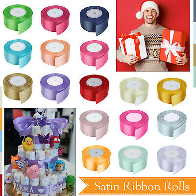 25 Metres Double Sided Faced Satin Ribbon Full Roll Reel 10mm 25mm 40mm Width UK • 5.28£