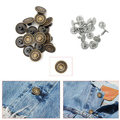 20pcs Hammer On 17mm Jeans Buttons Denim Replacement Brass Stud Jacket Trousers • 2.45£