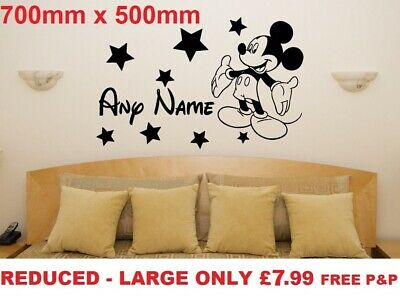 Large Personalised Minnie/mickey Mouse Wall Stickers Kids Wall Art Decal Bedroom • 7.99£