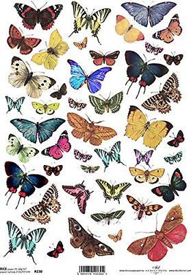 £4.94 • Buy Bright Butterfly Moth Decoupage Rice Paper R0230-1 X A4 Sheet Of Decoupage Rice