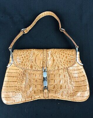 $ CDN37 • Buy DANIER Brown Tan GENUINE LEATHER Crocodile Skin Appearance Mini Purse/Handbag
