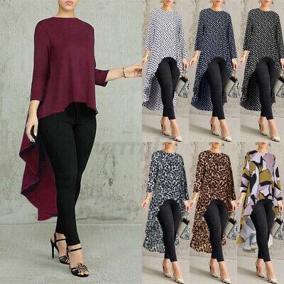 Women Long Sleeve Blouse Top Asymmetric Ladies Casual Loose High Low Shirt Dress • 7.55£
