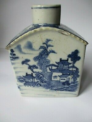 £149 • Buy Chinese 18th Century Tea Caddy,Blue & White Painted Scenes Fair  Condition  A F