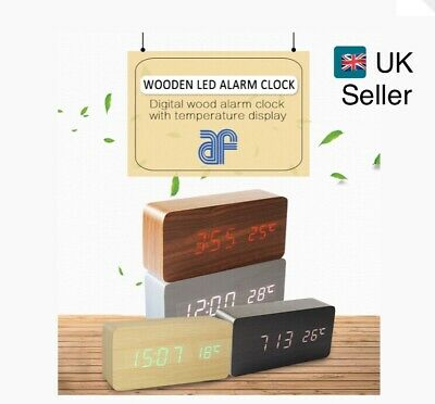 Wooden LED Digital Alarm Clock Voice Control Calendar Thermometer USB/AAA UK • 12.99£