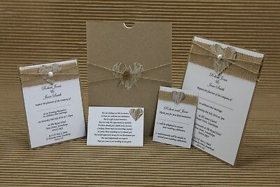 Wedding Evening Invitation Bundle In A5 Card Holder Rustic Hessian Lace Heart • 8£