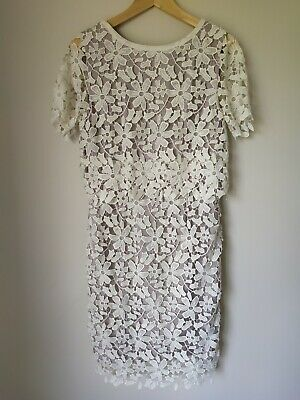 Grace Hill White Flower Patterned Dress Size 10 Party Wedding  • 26.93£