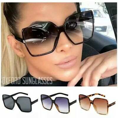 £5.49 • Buy Oversized Womens Ladies Sunglasses Oval Large Square Black Leopard Flat Top