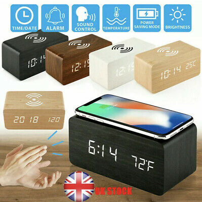 LED Electric Wooden Alarm Clock Phone Wireless Charger Charging Bedside Desktop • 19.99£