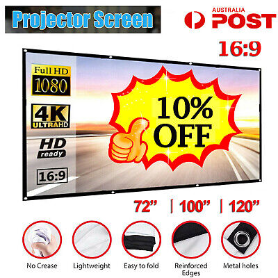 AU24.43 • Buy AU Portable Projector Screen 16:9 120'' Foldable HD Outdoor Home Cinema 3D Movie