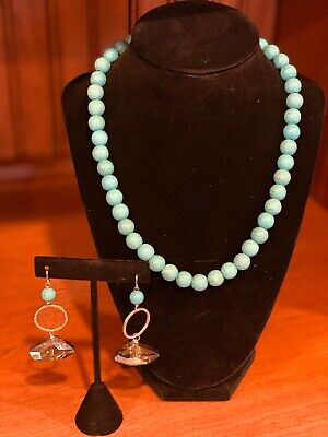$ CDN12.63 • Buy Blue Turquoise Beaded Necklace & Dangle Earring Set
