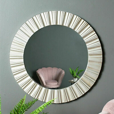 Silver Round Wall Mirror Ribbed Design Antique Style Contemporary Display Circle • 29.99£