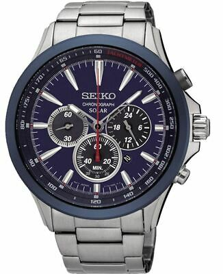 $ CDN300.88 • Buy Seiko Solar Chronograph SSC495 Blue Dial Stainless Steel Men's Watch