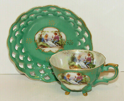 $14.95 • Buy Opalescent Footed Cup And Reticulated Saucer