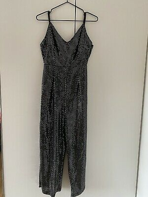 Boohoo Black And Silver Sequin Jumpsuit Size 10 • 5£
