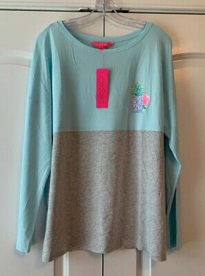 $60 • Buy NWT Lilly Pulitzer Finn Top Multi Swizzle In XX Lilly Back Graphic Size Large