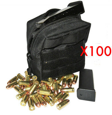 $ CDN663.66 • Buy (100) 9mm Ammo Modular Molle Utility Pouches Front Hook Loop Strap
