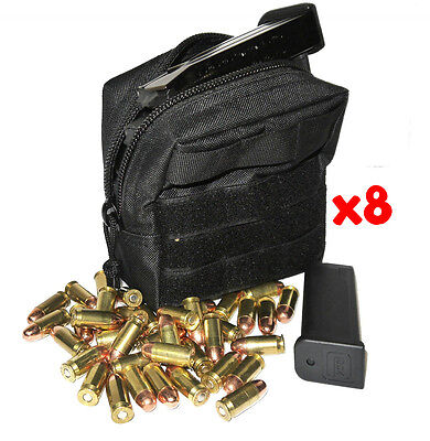 $ CDN74.47 • Buy (8) 9mm Ammo Modular Molle Utility Pouches Front Hook Loop Strap
