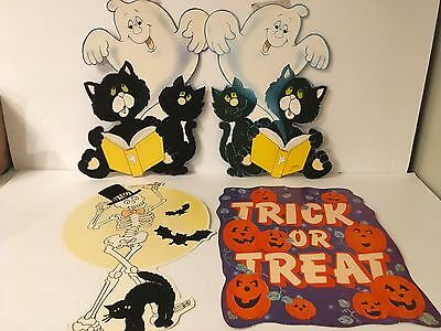 $ CDN16.84 • Buy Lot Of 4 Vtg Diecut Halloween Decorations Skeleton Black Cat Trick Or Treat