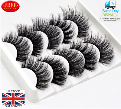 5Pair 3D Mink False Eyelashes Wispy Cross Long Thick Soft Fake Eyelashes FREE UK • 3.99£