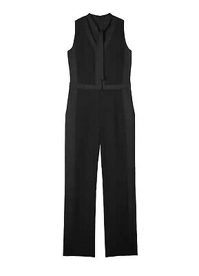 $75 • Buy Banana Republic Womens Jumpsuit Romper Size 6 Pant Suit Tie-Neck Tuxedo Black