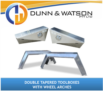 AU1450 • Buy Pair Of Double Tapered Toolboxes + Wheel Arches (4x4, Ute Tray, Aluminium)