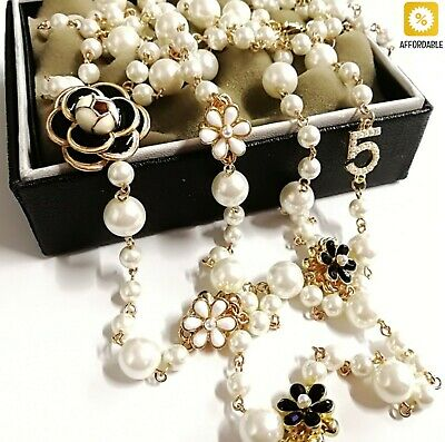 AU28.04 • Buy Pearl Necklace For Women Simulated Double Layer Pendant Long Necklace Jewelry