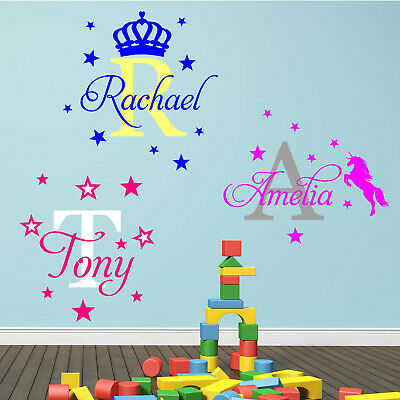 Personalised Name Wall Art Sticker Letter Baby Bedroom Nursery Decal Cot N146 • 7.46£