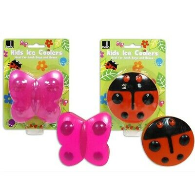 Kids Reusable Ice Cooler Block Pack Butterfly Or Ladybird Lunch Box Picnic Bag • 4.99£