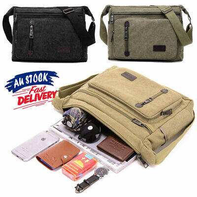 AU21.25 • Buy Satchel Travel Men's Crossbody Canvas Man's Bags Shoulder Messenger Bag Retro