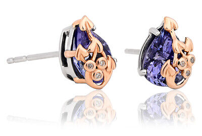 NEW Welsh Clogau 18ct White & Rose Gold Tree Of Life Tanzanite Earrings £225 OFF • 525£