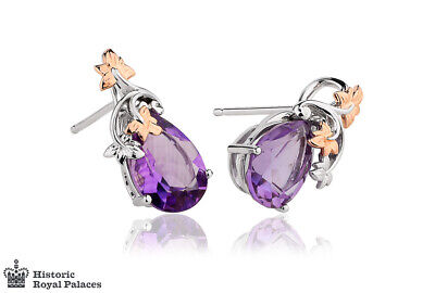 £450 • Buy NEW Welsh Clogau 18ct White & Rose Gold Great Vine Amethyst Earrings £400 OFF!