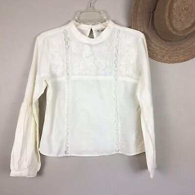 $19.95 • Buy Zara Basic S Embroidered Top Long Sleeve Peasant Linen Cotton NWT $50