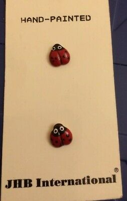 """Pair Of Ladybird Hand-Painted Buttons 3/8"""" New • 2.80£"""