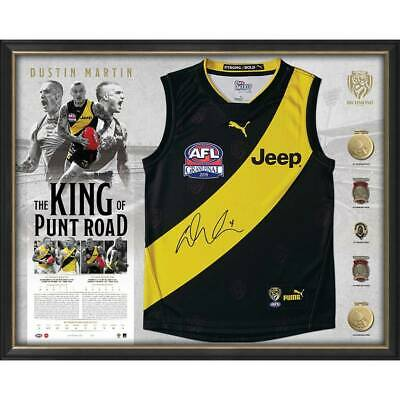 AU1295 • Buy Dustin Martin Richmond Signed Framed King Of Punt Road Limited Deluxe Guernsey