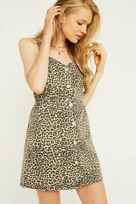 AU18 • Buy BDG Urban Outfitters | Leopard Print Denim Pinafore Dress | Brand New W/ Tags