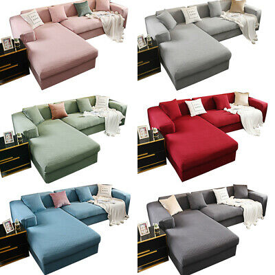 AU10.99 • Buy Jacquard L Shape Sofa Cover 1/2/3/4 Seater Slipcover Couch Protector Solid Color