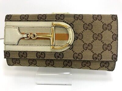 $77 • Buy Auth GUCCI GG Canvas Bifold Long Wallet 56013661