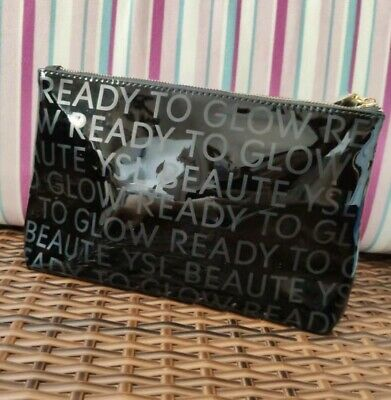 AU17.99 • Buy YSL Beauty  READY TO GLOW  Black Faux Patent Leather Makeup Cosmetics Bag Pouch