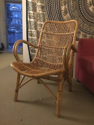 AU230 • Buy Vintage Cane Chair, Wicker, Retro Arm Chair. Second Hand. Comfortable As!