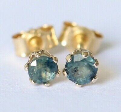 AU129 • Buy Genuine 9ct 9k 375 Yellow Gold NATURAL & RARE Blue Green Sapphire Stud Earrings