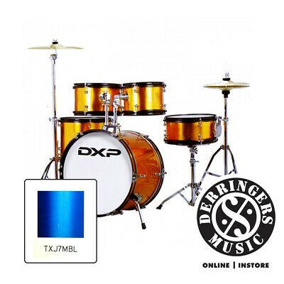 AU389 • Buy DXP Junior Series 5 Piece Drum Kit + Cymbals And Throne - Metallic Blue