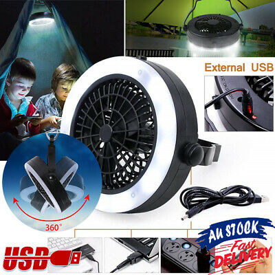 AU25.36 • Buy With Hook Rechargeable 3 In 1 LED Fan Tent Lamp USB Camping For Outdoor Portable