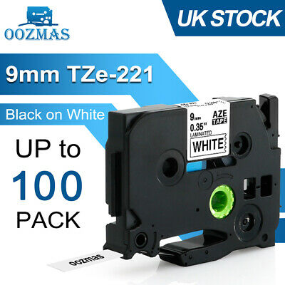 Compatible Brother TZ Tze Label Tape Printer P-Touch Black On White 9mm TZe-221 • 2.79£