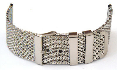 22mm Stainless Steel Shark Mesh Watch Strap Tang / Pin Buckle Watch Band  • 7.65£