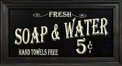 Vintage Bath Room Advertising Wall Art Distressed Sign Decor Soap And Water • 11.26£