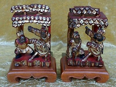 £65 • Buy Pair Of Chinese Carved Wood Bookends.19th Century Temple Carvings Gilt Accents