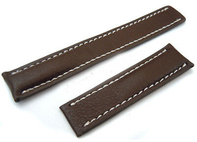 22mm Brown Leather Watch Strap Watch Band For TAG Heuer Deployment Buckles • 15£