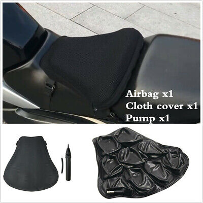Black Motorcycle Seat Cushion Inflatable Mat With 3D Breathable Mesh Cover+Pump • 28.70£
